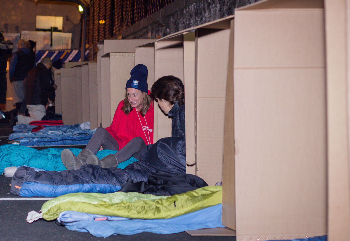 Board Chair, Mary Beth Gray (right) and others at Sleep Out: Executive Edition