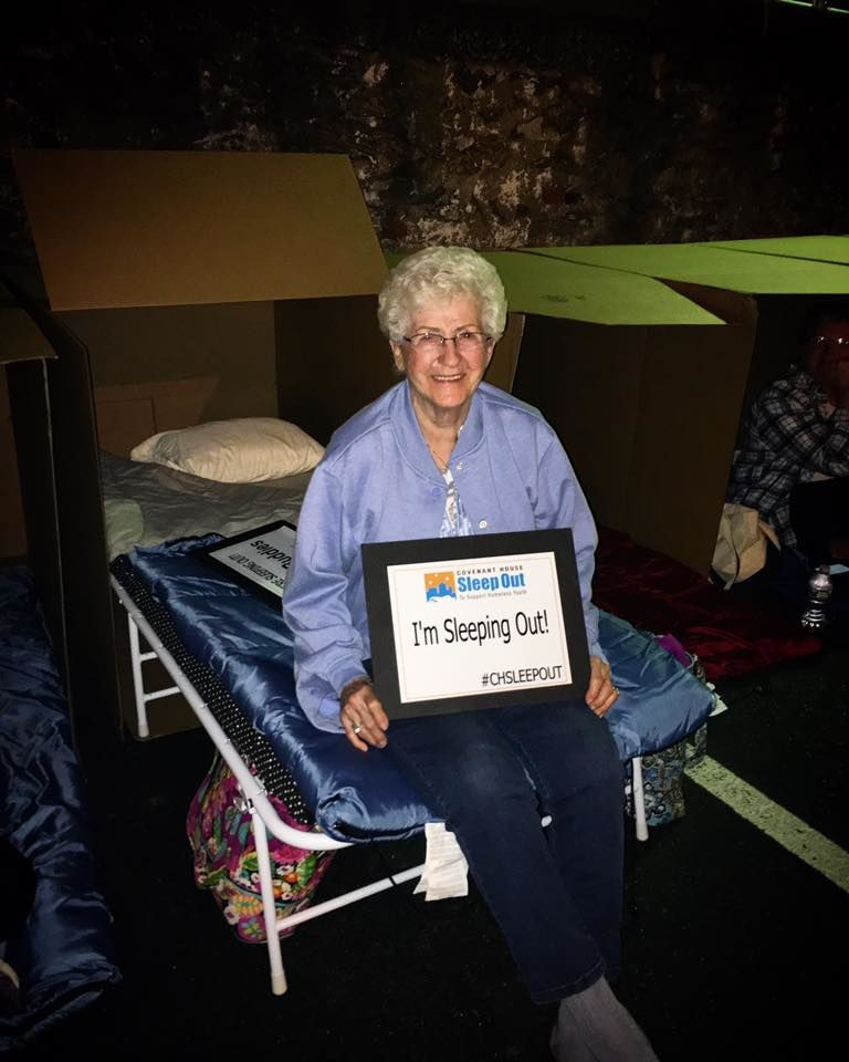 90 year-old Ann, sleeping out at Sleep Out: Women Unite