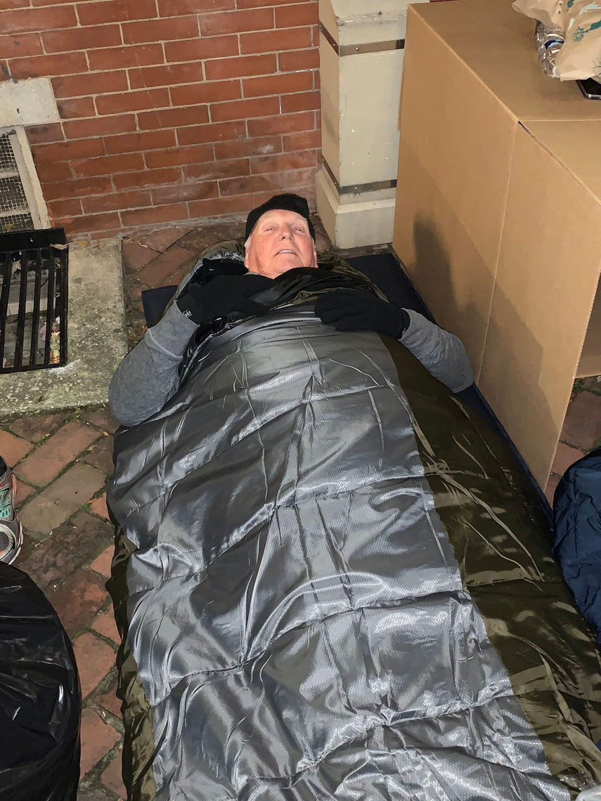 Phillies Wall of Famer, Charlie Manuel went without a box at the 2019 Sleep Out: Executive Edition